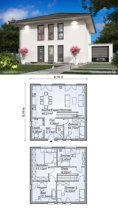 Town Country Haus, Living Haus, House Blueprints, Floor Plans, House Styles, Building, House Roof, Homes, Fashion