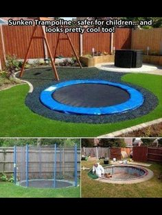 Cool backyard idea for the little ones in the family. Much safer than a trampoline above ground.