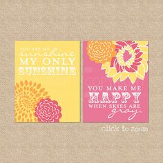 Sunshine Quote, Giclée Art Prints for Nursery / Kids Room , You are My Sunshine, Custom match colors to your nursery / room, 8 x 10. $35.00, via Etsy.