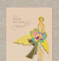 Bridal Shower Invitations Art Deco and Pink - Set of 10 Vintage Bridal. $12.00, via Etsy.