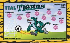 Teal Tigers digitally printed vinyl Soccer sports team banner. Made in the USA and shipped fast by Banners USA. http://www.bannersusa.com/art/templates_2/digital/banners/VBS_BB_banners.php