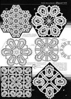 Crocheted motif no. Crochet Motif Patterns, Crochet Diagram, Crochet Chart, Crochet Squares, Crochet Designs, Crochet Doilies, Crochet Flowers, Crochet Stitches, Knit Crochet