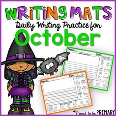 October Writing Paper and Prompts These are great for independent writing time, creative and story journal writing, writer's workshop, writing centers, small group instruction, homework, and morning work. All 20 of the writing mats cover a variety of seasonal and general topics.There are fiction and non-fiction writing topics included.