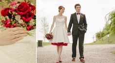 """Barn wedding inspiration with the color of the year 2015, which is marsala.  A short wedding dress, beautiful details, suspenders for him, marsala colored bow tie and petticoat, marsala shoes.  Flowers by """"Die Kathe""""."""