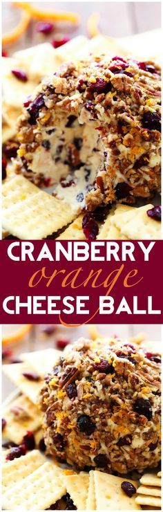 Cranberry Orange Cheese Ball... This recipe is PERFECT for the holidays! Packed with delicious seasonal flavor, this appetizer is absolutely delicious and super simple to make! It will quickly become a new favorite! ... use vegan cream cheese Party Snacks, Orange Balls Recipe, Simple Appetizers, Fall Appetizers, Cheese Appetizers, Appetizer Ideas, Cheese Snacks, Make Ahead Christmas Appetizers, Best Thanksgiving Appetizers