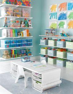 20 Fantastic Kids Playroom Design Ideas – Modern Home Playroom Design, Playroom Ideas, Playroom Layout, Colorful Playroom, Kids Room Organization, Toy Rooms, Kids Rooms, Home Daycare Rooms, Space Saving Furniture