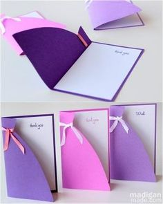 DIY handmade dress silhouette card ~ for bridesmaids, birthdays, princesses  [tutorial] by allison.heart.cares