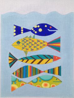 Zecca 5 Fish Hand Painted Needlepoint Canvas With Stitch Guide | eBay