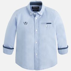 Camisa combinada manga comprida Celeste - Mayoral Mens Fashion Wear, Boys Shirts, Kids Wear, Printed Shirts, Kids Outfits, Christian, Shirt Dress, Children, Summer