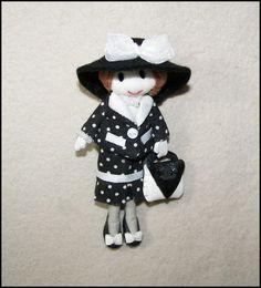 Broche muñeca con traje de lunares bolso piel gran por Finasita