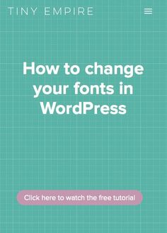 Free video tutorial: how to upgrade your fonts in WordPress (to free-but-prettier Google Fonts). Great step by step instructions for beginners.