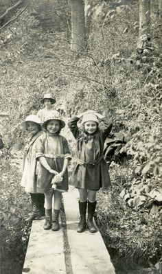 Girls playing in a stream, Northumberland, May 1923
