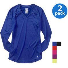 Danskin Now Women's Plus-Size Long-Sleeve Performance Tee, 2-Pack