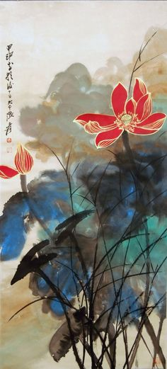 Zhang Daqian Red Lotus Splashed : Lot 6