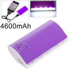 YH-680 4600mAh Mobile External Power Battery Charger w/ 4-LED White Lights for iPhone 4/4S, iPad, Mobile Phone, PSP, MP3/MP4, etc (Purple)