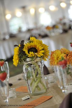 Sunflowers are also big in season, love it in the mason jar with ribbon and tag