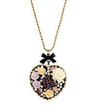 Betsey Johnson® Flower Heart Long Pendant Necklace