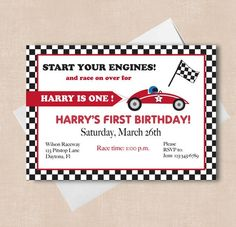 race car party invitations