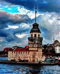 Maidens Tower Turkish Tiles, Istanbul, Around The Worlds, Tower, Moon, Watercolor, The Originals, Painting, Cities