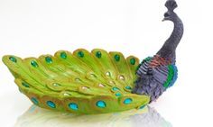Peacock Collectible bowl for rings & change - Crafted beautiful, extravagant, bejeweled peacock photo 7 of 7