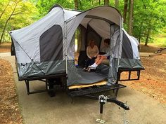 Folding Camper Tent & Utility ATV Trailer Motorcycle Camp Camping Popup Pop up for sale online Best Tents For Camping, Camping Car, Family Camping, Outdoor Camping, Camping Hacks, Camping Ideas, Camping Store, Camping Guide, Luxury Camping