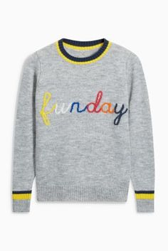 Buy Grey Funday Slogan Sweater from the Next UK online shop
