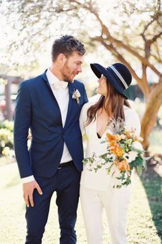 Non-Traditional Wedding Dresses for the Modern Bride White Wedding Gowns, Best Wedding Dresses, Wedding Suits, Bride Dresses, Wedding Attire, Wedding Bride, Boho Wedding, Dream Wedding, Dark Navy Suit