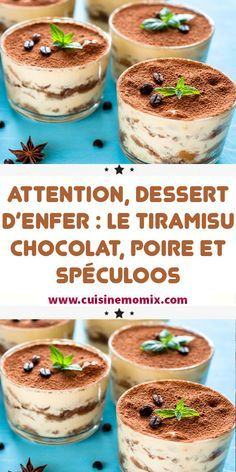Attention, hellish dessert: the chocolate, pear and speculoos tiramisu, Dessert Bullet Recipes, Snack Recipes, Cooking Recipes, Tiramisu Dessert, Thermomix Desserts, No Cook Desserts, Meyer Lemon Recipes, Ricotta Cheese Recipes, New Years Eve Dessert