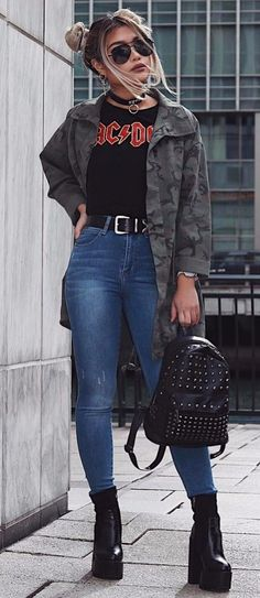 High waist Jeans | AC DC top | Chunky Black Boots | Army Jacket | Aviators | Fun Buns