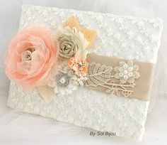 Wedding Guest Book and Pen Set Signature Book in Ivory by SolBijou