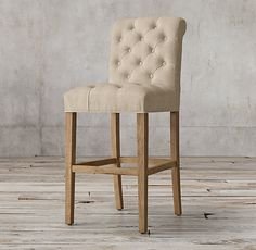 RH's Bennett Roll-Back Fabric Stool:Defined by its graceful curves and elegant silhouettes, Georgian furniture stands in refreshing contrast to the Victorian designs that followed it. Our dining chair captures that lighter outlook with its high tufted back and refined proportions. Deeply cushioned and generously sized, it's a comfortable spot for dining and conversation.