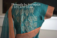 A linen blend saree with a trendy work on the blouse is a beautiful party wear for Christmas.
