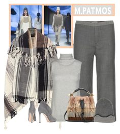 """M. Patmos Check Fringed Wool Cape"" by bodangela ❤ liked on Polyvore featuring M.Patmos, Chloé and Gianvito Rossi"