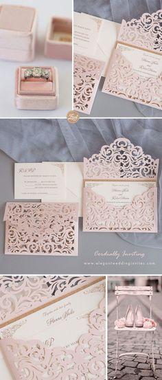 Blush shimmer glitter laser cut sleeve with classic wedding invitation card EWWS240