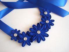 Blue Kanzashi Flowers Bib Necklace Floral Choker Fabric Flowers Necklace Statement Necklace