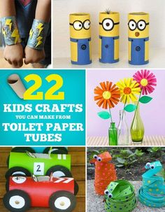 Some of these look kind of dumb.but they would keep Maddie busy for bit! 22 Cool Kids Crafts You Can Make From Toilet Paper Tubes Fun Crafts For Kids, Craft Activities For Kids, Summer Crafts, Toddler Crafts, Crafts To Do, Projects For Kids, Diy For Kids, Craft Projects, Craft Ideas