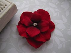Ruby Red . velvet hydrangea . clippie . by ShelbyGirlBoutique, $4.25