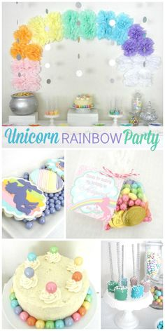 What a delightful pastel unicorn rainbow girl birthday party with a lovely dessert table! See more party ideas at CatchMyParty.com!