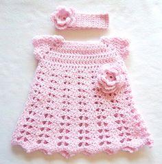 Baby Pink Crochet Flower Dress Headband Set