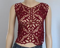Ready to ship - Burgundy  Crochet Beaded Cropped Tank ,Top , Halter ,Mandala Pixie Vest -  Summer - Boho Chic Size S M