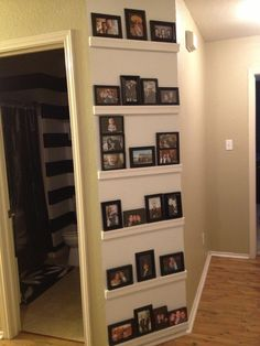 Crown moulding, white paint, pictures