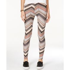 Ultra Flirt Juniors' Ultra-Soft Printed Leggings ($15) ❤ liked on Polyvore featuring pants, leggings, canne chevron, relaxed fit pants, white pants, long leggings, white trousers and white leggings