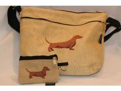 Dixie Bags Brown / Red Dachshund Medium Handbag with Small Change Purse up for bid during the Furever Dachshund Rescue online auction starting Monday, November 12th. Come preview all the items!