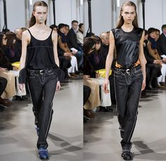 Paco Rabanne 2016-2017 Fall Autumn Winter Womens Runway Catwalk Collection Looks - Paris Fashion Week Mode à Paris France - Denim Jeans Contrast Stitching Blouse Loafers Asian Cherry Blossoms Dragon Tiger Flames Flowers Floral Print Embroidery Crop Top Midriff Bandeau Straps Belt D-Ring Outerwear Coat Leather Boots Velcro Neoprene Skirt Frock Nylon Knit Sweater Jumper Turtleneck Shearling Drapery Dress Sheer Chiffon Vestdress