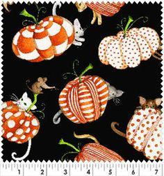 Spooktacular Too by Debbie Taylor Kerman for Henry Glass Fabrics holiday cotton novelty fabric of pumpkins, cats, and mice for Halloween or thanksgiving Novelty Fabric, Halloween Fabric, Drapery Fabric, Fabric Design, Pumpkins, Quilts, Christmas Ornaments, Holiday Decor, Fabrics