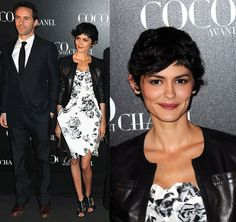 how to wear black and white floral dresses | French Actress Audrey Tatou Wear a Black and White Floral Chanel Dress ...