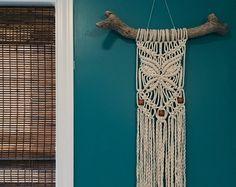Kralen vlinder Macrame muur opknoping op natuurlijke drijfhout