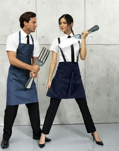 Our models battling through the kitchen wearing PR150 in denim and PR151 in navy.
