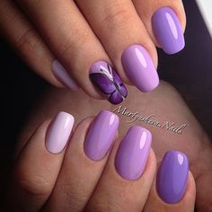 Butterfly nail art, Butterfly nails, Ideas of violet nails, Pale purple nails, Summer nails 2016