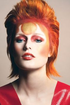 Reimagining Ziggy Stardust for FLARE's March Beauty Shoot; Photographer: Andrew Soule, hair: Christopher Martin/Justin German, Makeup: Miriam Azoulay, Styling: Corey Ng, Model: Sindy, Ford Models; Beauty Director: Carlene Higgins